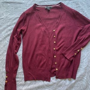 Maroon & gold button cardigan sweater